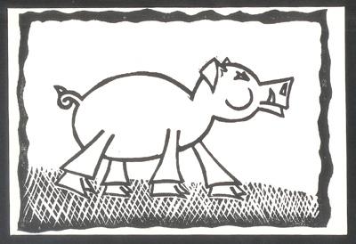 """2007 Year of the Boar 5"""" x 7"""" Linocut"""