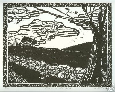 "Title: ""Dusk on the Farm"" Medium: Linocut Paper Size: 12"" X 14"" Image Size: 8"" X 10"""