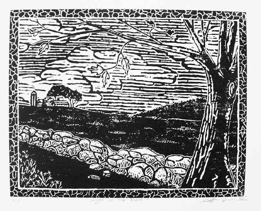 """Night on the Farm"" Linoluel Cut 8"" x 10"" Strathmore 500 series Bristol Paper Printed in Speedball Waterbased Inks"