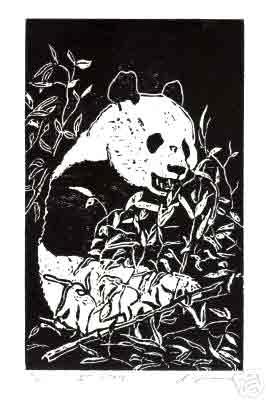 "Title: ""Panda"" Medium: Linocut Paper Size: 10"" X 7"" Image Size: 8"" X 5"""