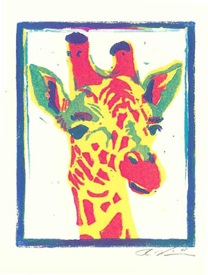 "Title: ""Pop Art Giraffe"" Medium: Linocut Paper Size: 7"" X 6"" Image Size: 5"" X 4"""