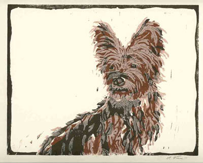 """Rudy"" Linoluel Cut 8"" x 10"" Strathmore 500 series Bristol Paper Printed in Speedball Waterbased Inks 4 color 4 block"