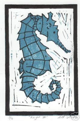 """Knight II"" - Seahorse Linoluel Cut 5 "" x 7"" Strathmore 500 series Bristol Paper Printed in Speedball Waterbased Inks 2 color 2 block"