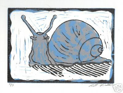 """Snail"" Linoluel Cut 5 "" x 7"" Strathmore 500 series Bristol Paper Printed in Speedball Waterbased Inks 3 color 3 block"