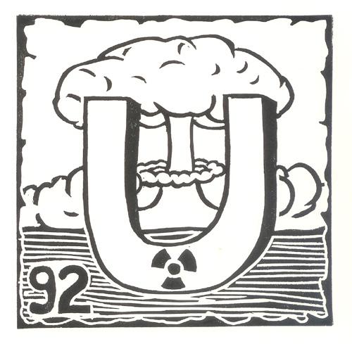 """""""Uranium #92"""" 6"""" x 6"""" Linocut"""